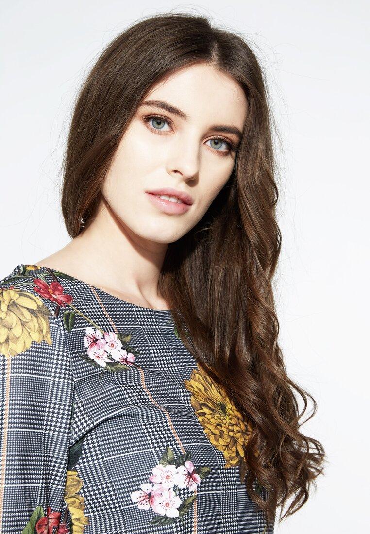 Różowo-Szara Sukienka Caro Flowers