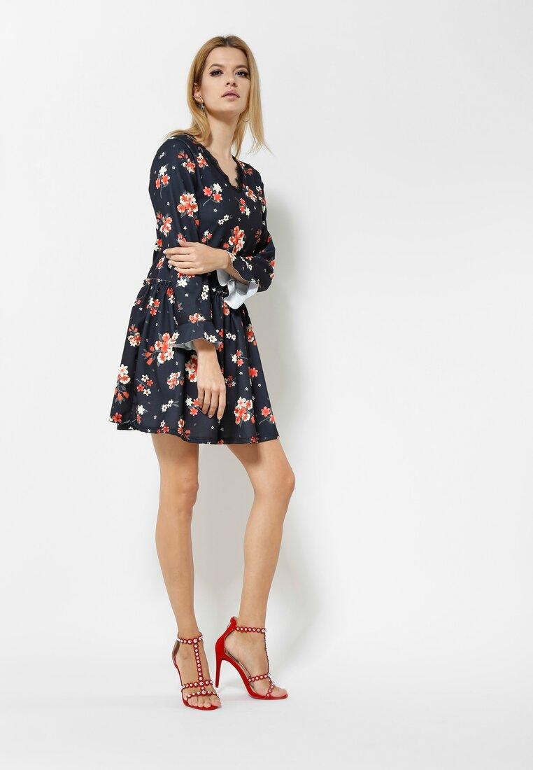 Pomarańczowo-Czarna Sukienka Sweety Flower