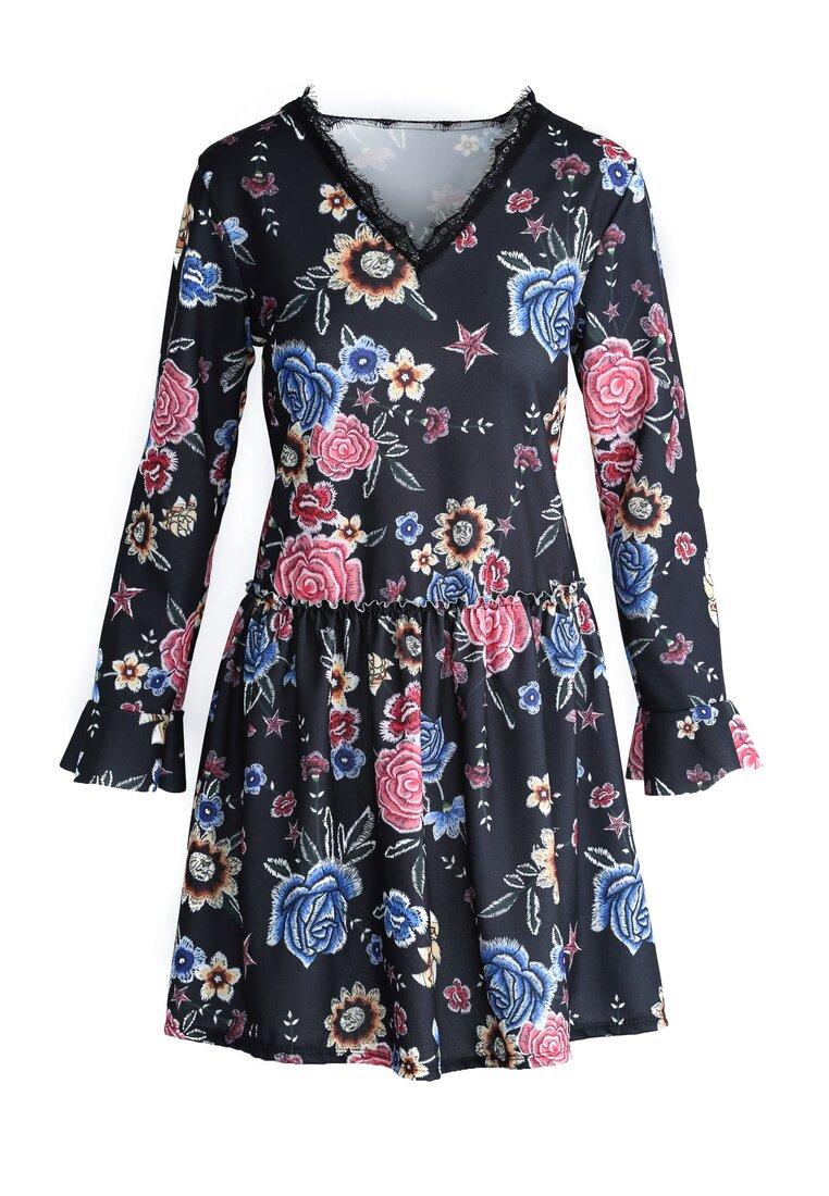 Czarno-Różowa Sukienka Sleepy Petal