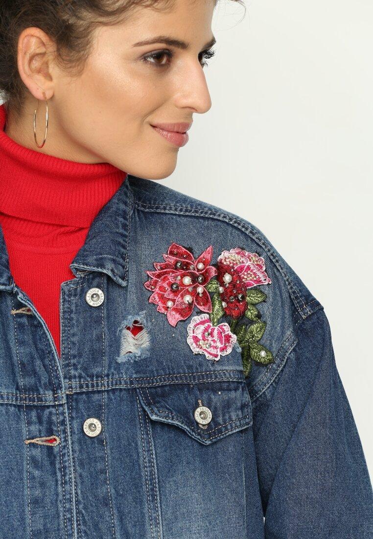 Niebieska Kurtka Jeansowa Flower Amnesty