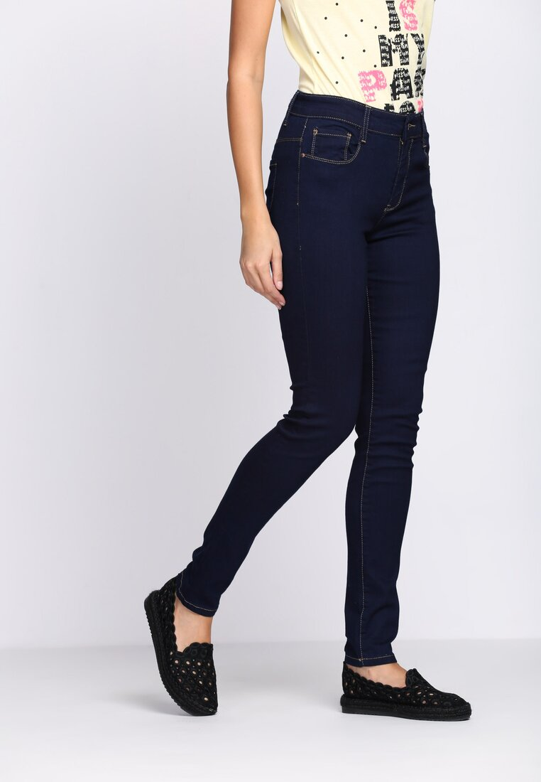 Granatowe Jeansy Narrow Back