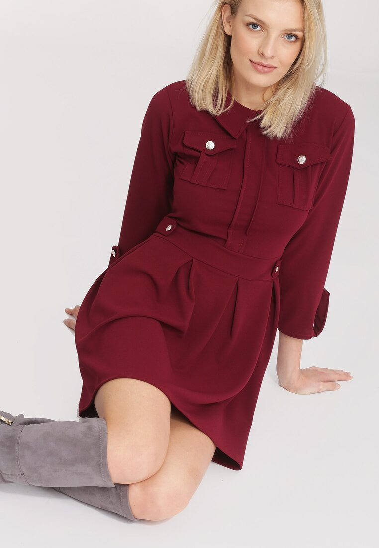 Bordowa Sukienka Prepensely