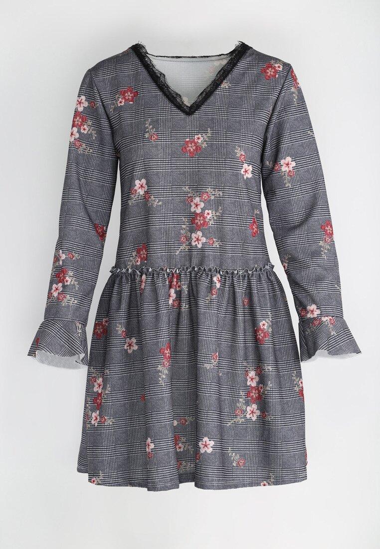 Szaro-Bordowa Sukienka Hey Girl!