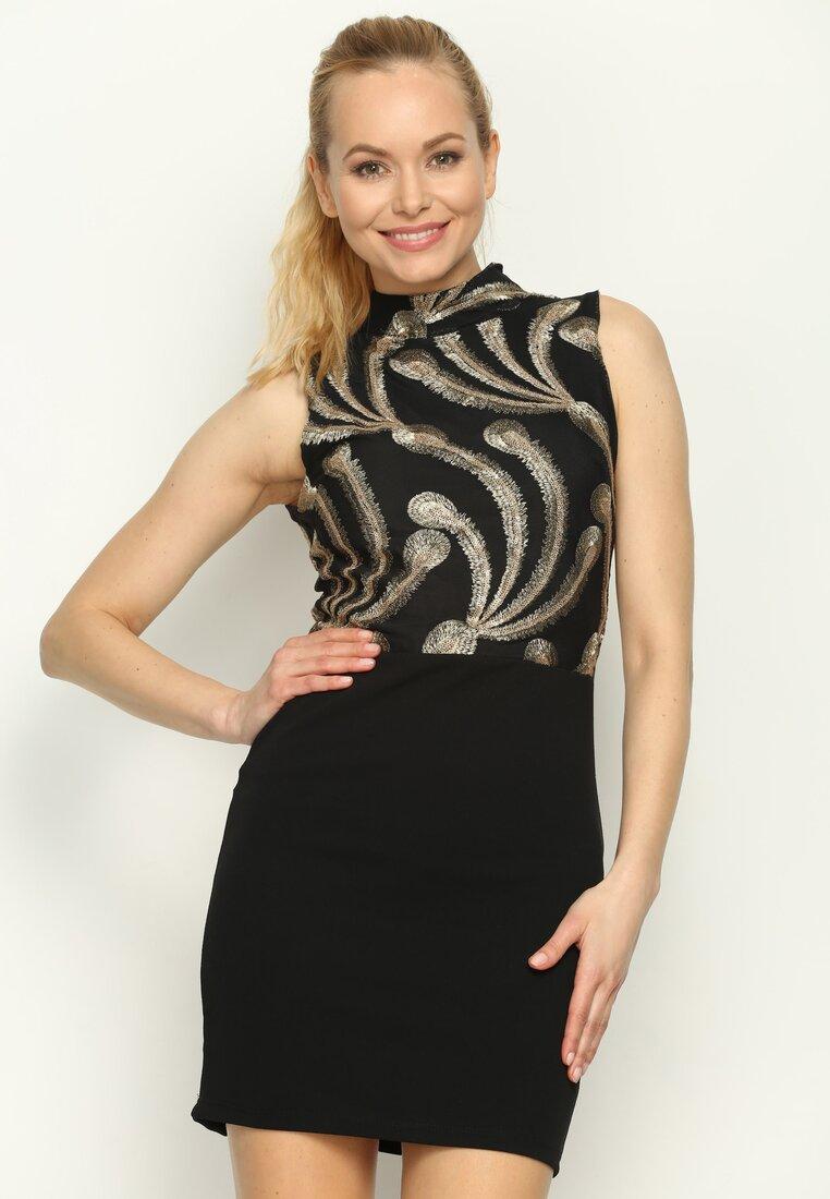 Czarno-Złota Sukienka Flair Drip