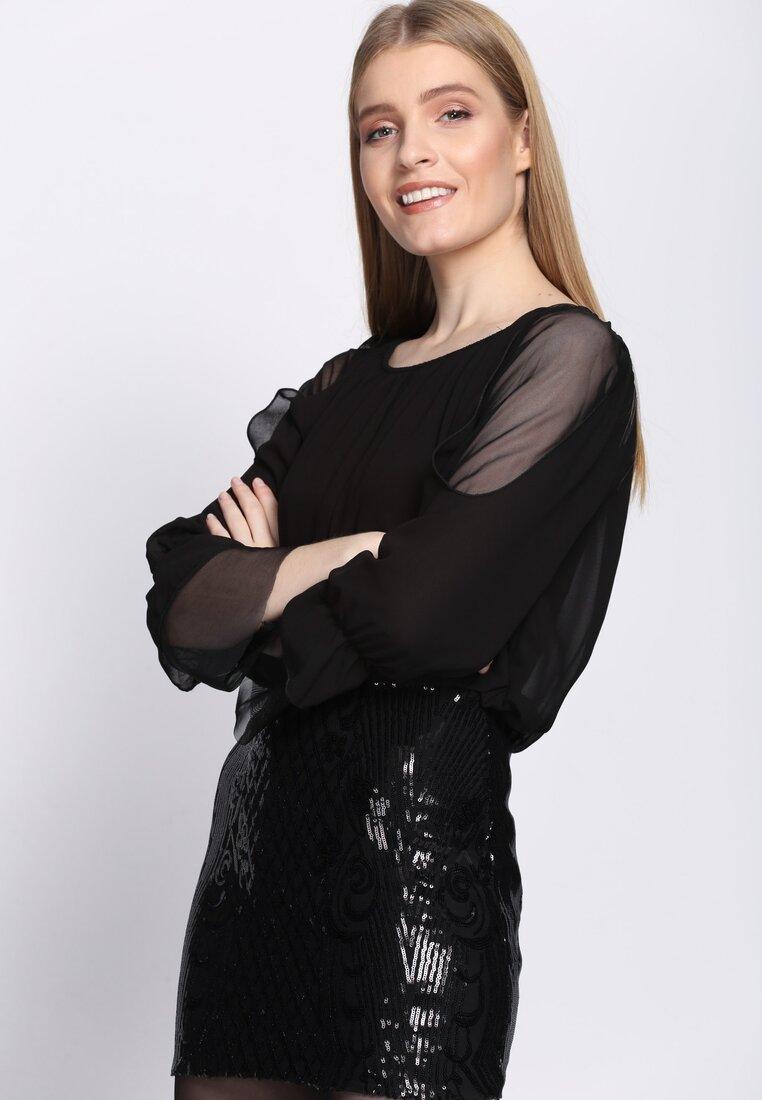 Czarna Sukienka Eighties Vibe