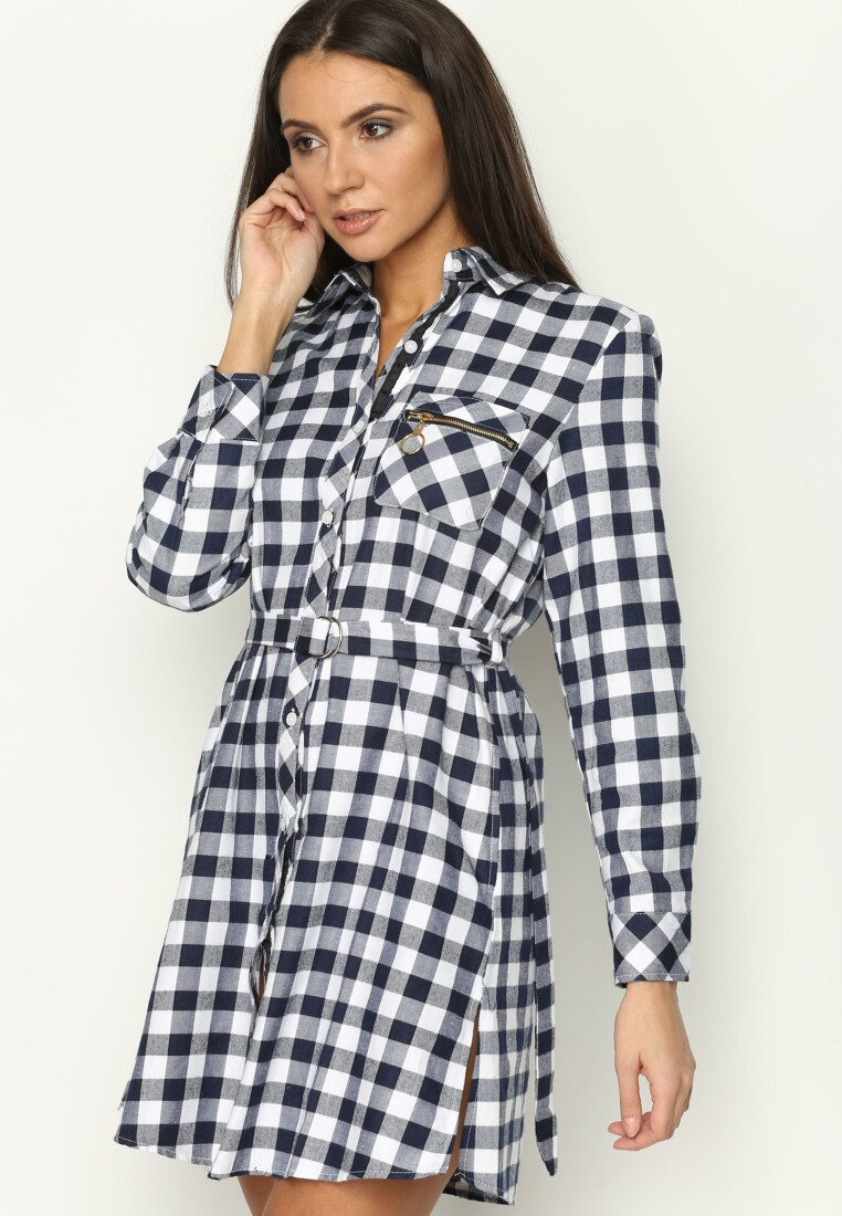 Granatowa Sukienka Checked Girl