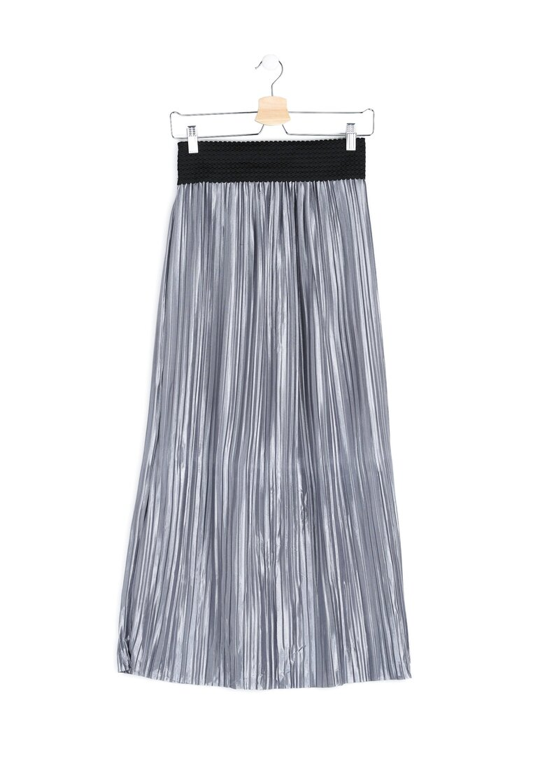 Srebrna Spódnica Pleated Satin