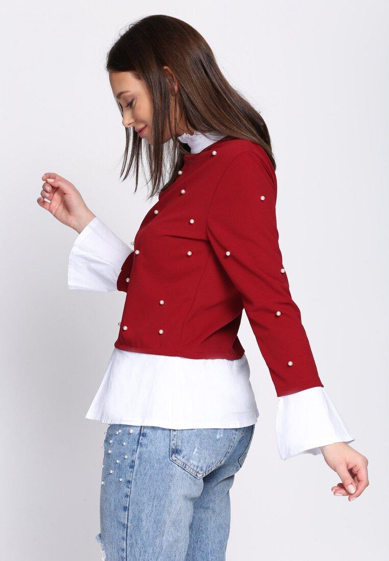Bordowa Bluzka Elizabethan Pearls