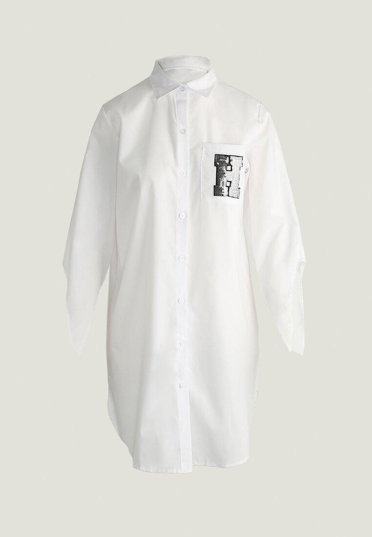 Biała Sukienka Sequinned