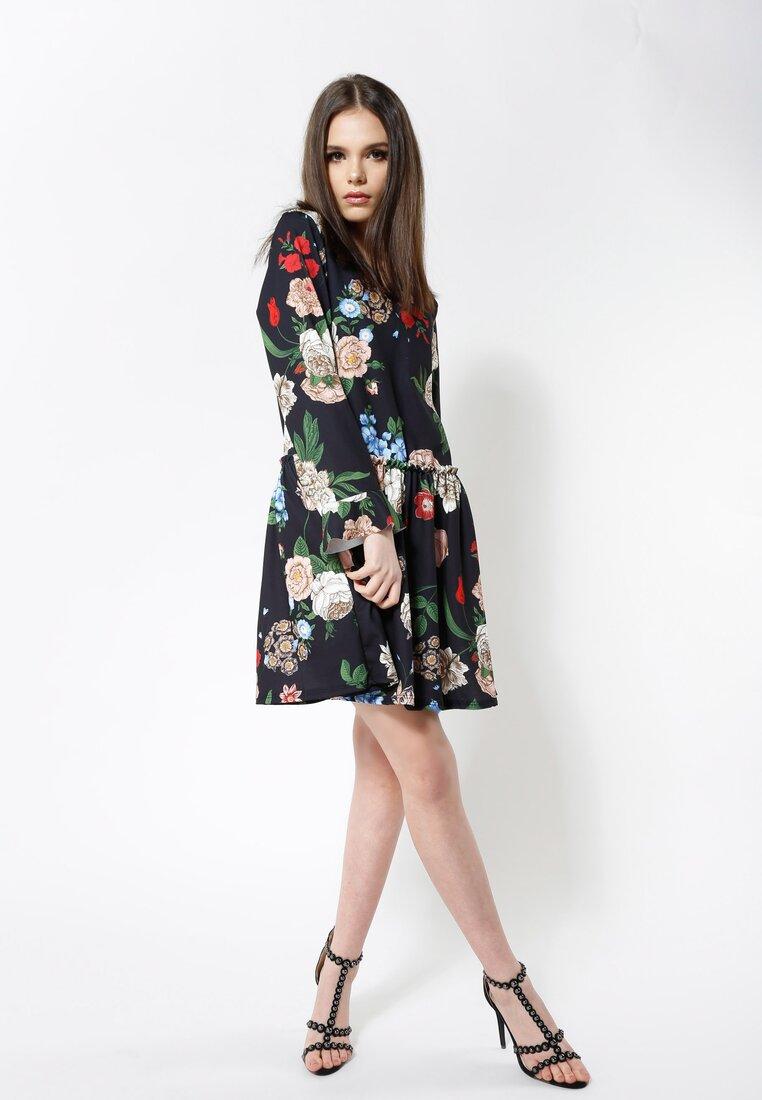 Czarno-Beżowa Sukienka Sleepy Petal