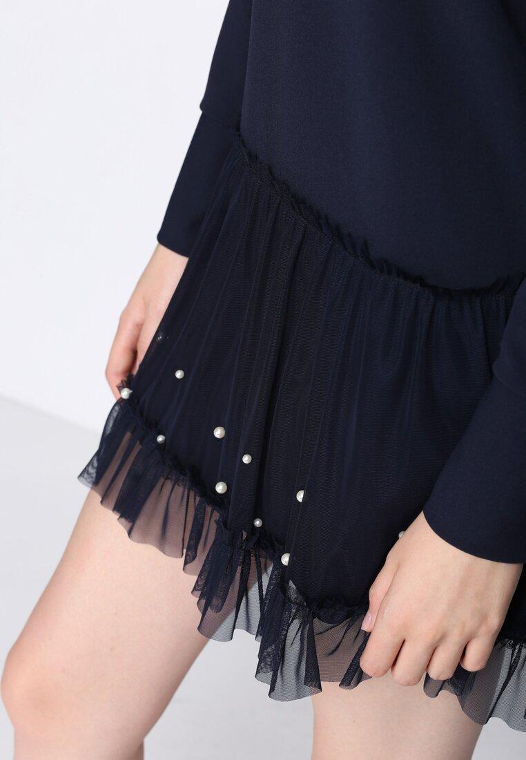Granatowa Sukienka Fine Detail