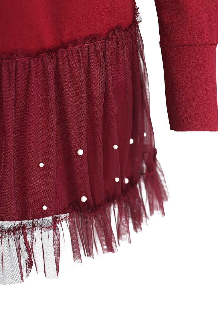Bordowa Sukienka Fine Detail