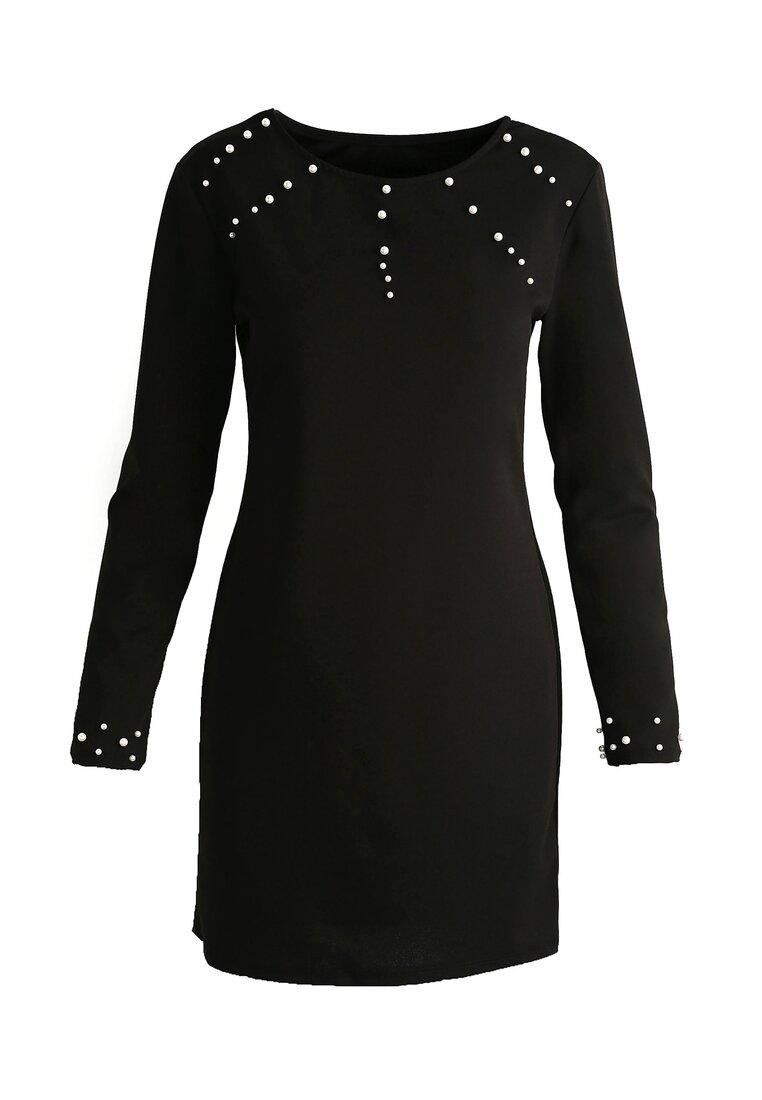 Czarna Sukienka Trimming Pearl