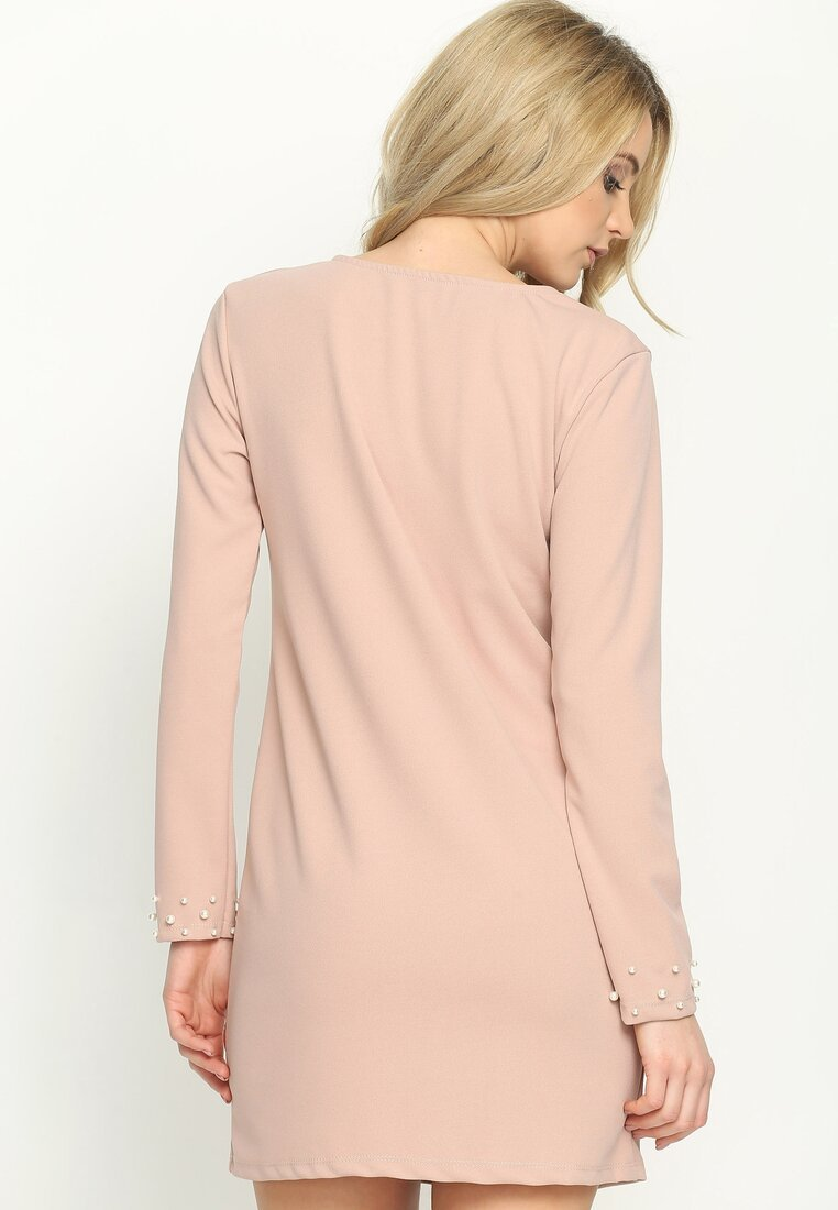 Różowa Sukienka Trimming Pearl