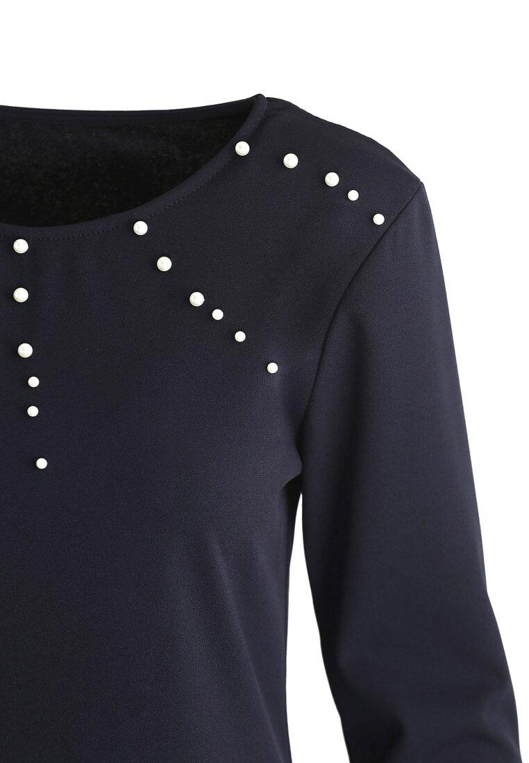 Granatowa Sukienka Trimming Pearl