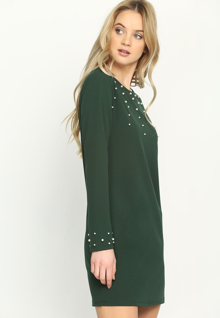 Ciemnozielona Sukienka Trimming Pearl