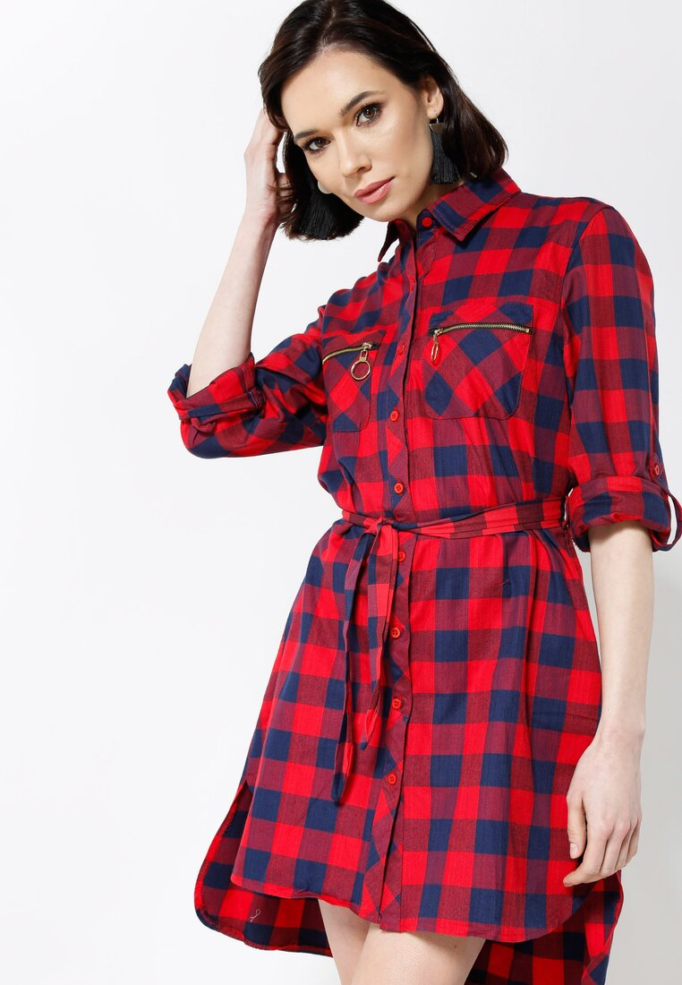 Czerwona Sukienka Grill Pockets