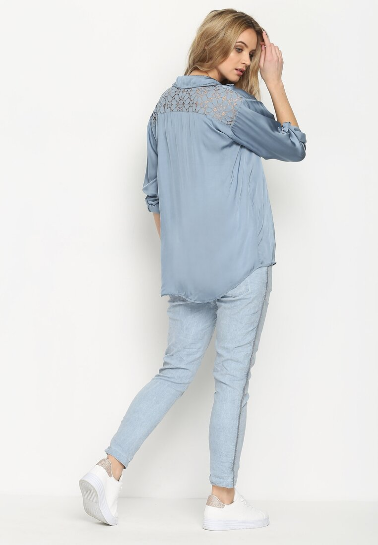 Niebieska Bluzka Lace On Back