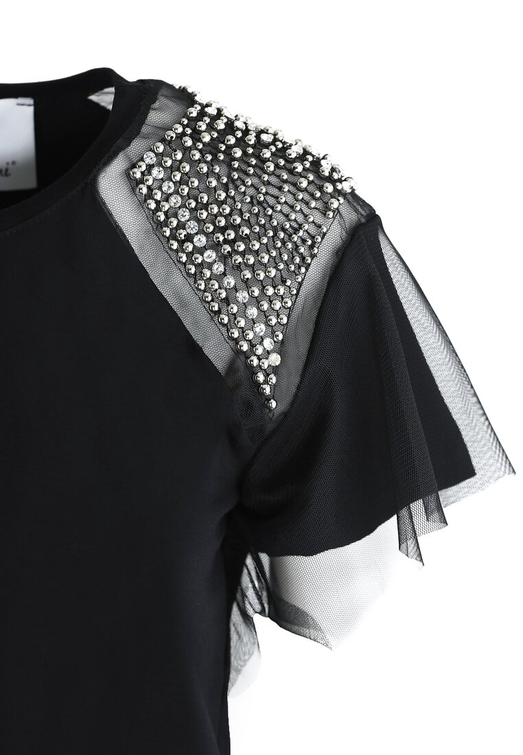 Czarna Bluzka Shoulder Diamante