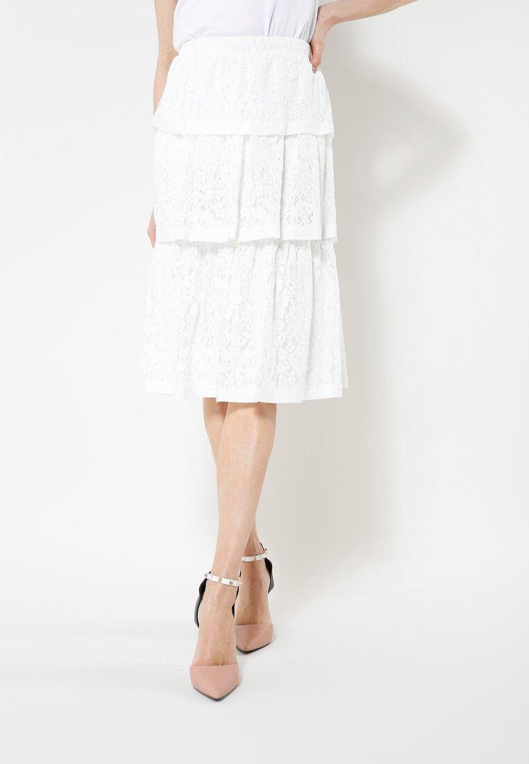 Biała Spódnica Triple Frill