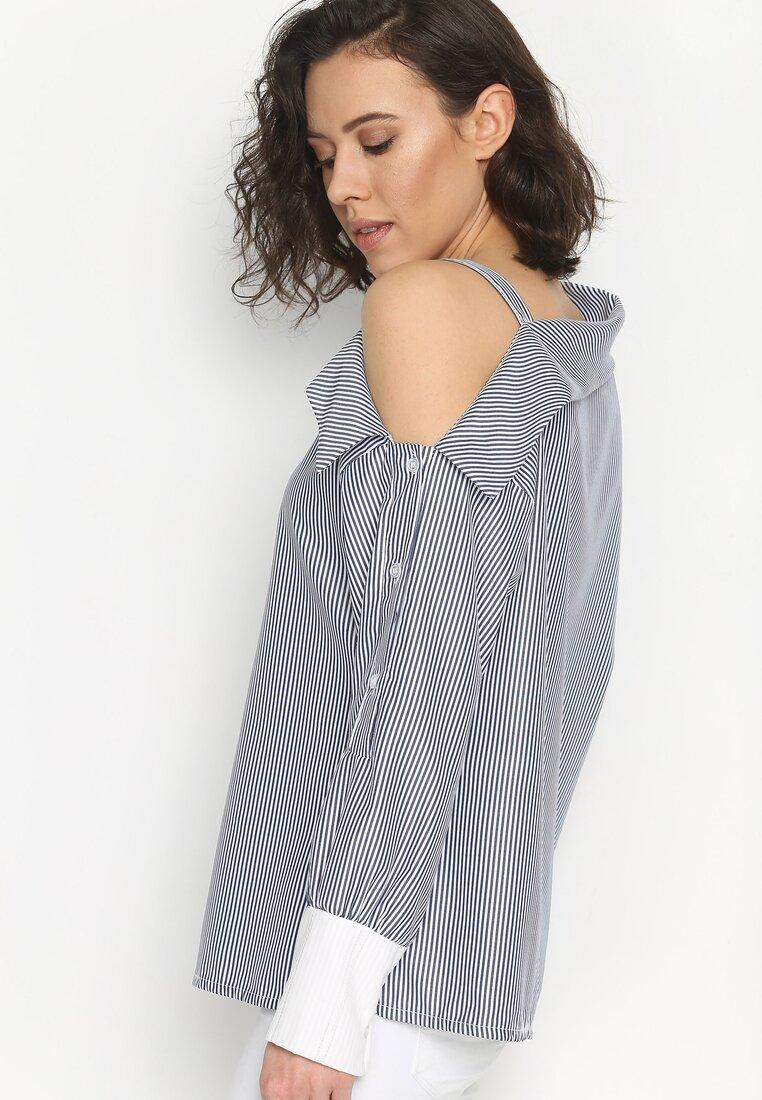Granatowa Koszula Open Shoulder