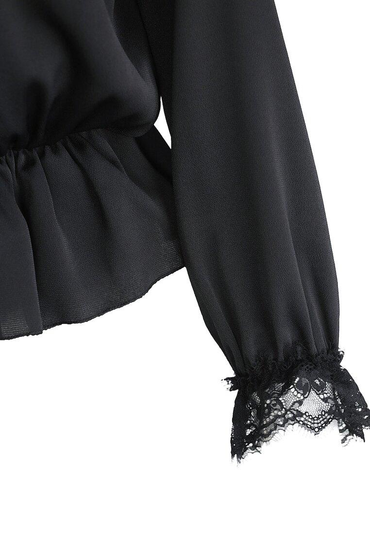 Czarna Bluzka Lace Trims