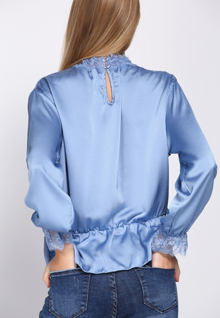 Niebieska Bluzka Lace Trims