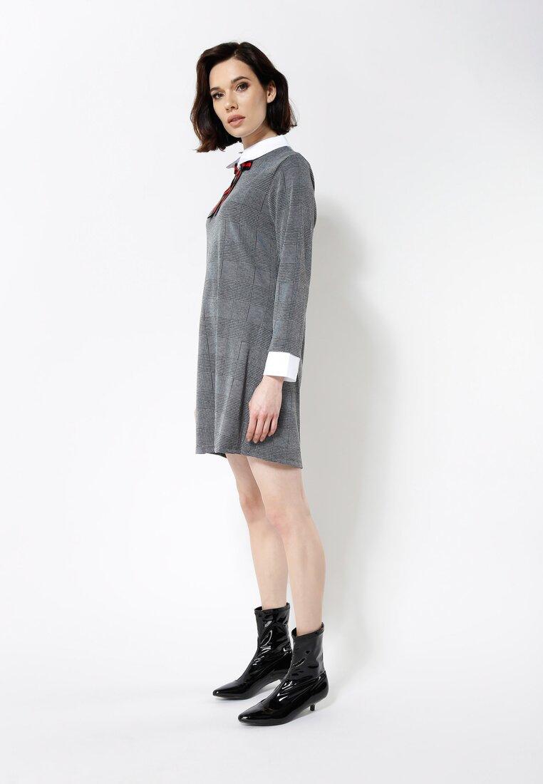 Czarno-Szara Sukienka White Collared