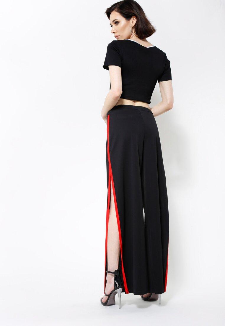 Czarno-Czerwone Spodnie Candy Cut