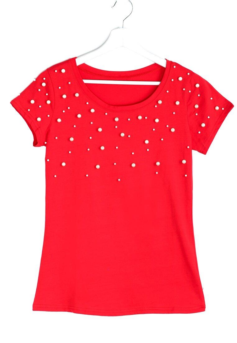 Czerwona Bluzka Dotted Pattern