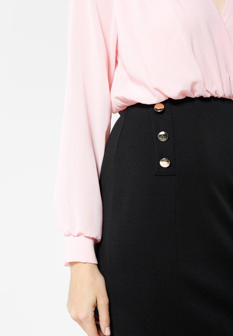Różowo-Czarna Sukienka Seductive Back