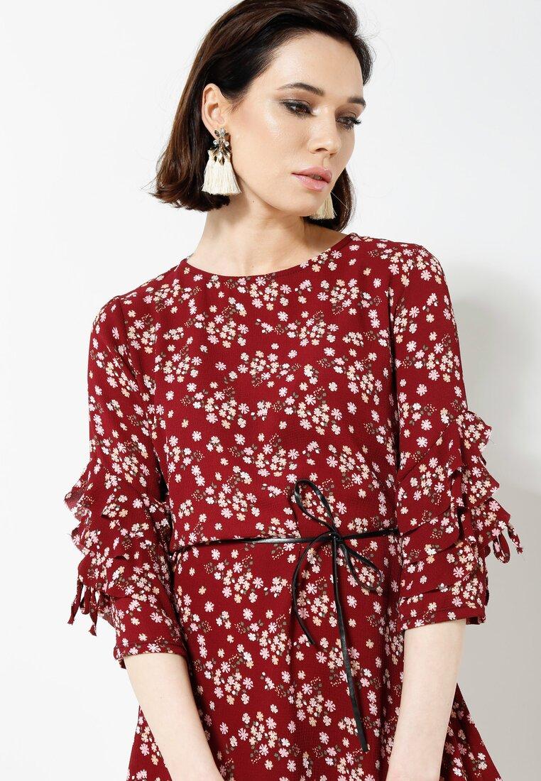 Bordowa Sukienka Bloom In Town