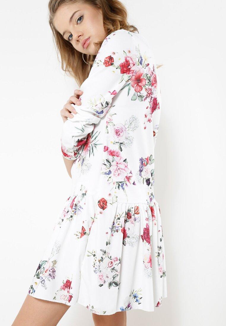 Biało-Bordowa Sukienka Baylor