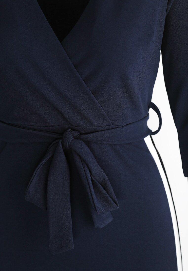 Granatowa Sukienka Colorful Stripes