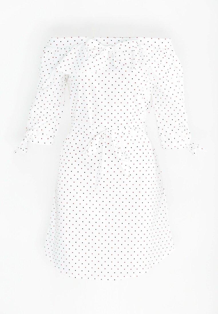 Biała Sukienka Flamenco Dots