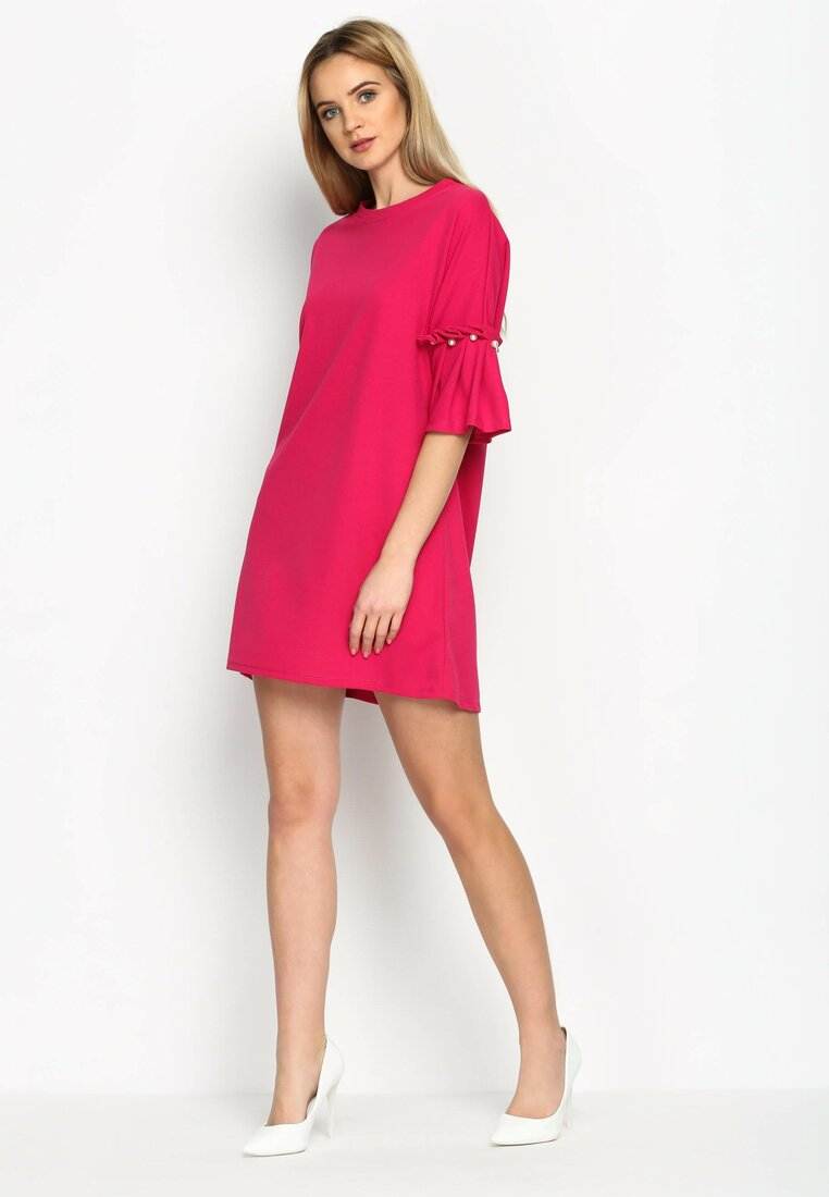 Fuksjowa Sukienka Pleated Sleeves