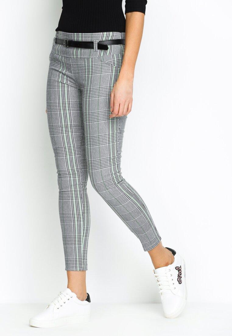 Szaro-Zielone Spodnie Smart Casual