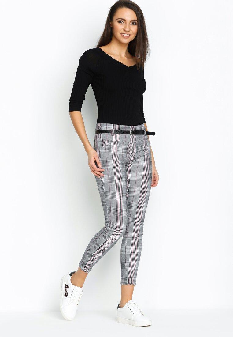 Szaro-Fuksjowe Spodnie Smart Casual