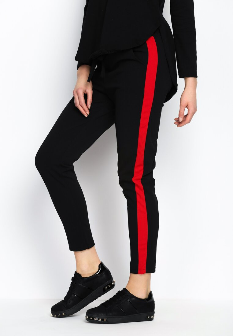 Czarno-Czerwone Spodnie Two Colors