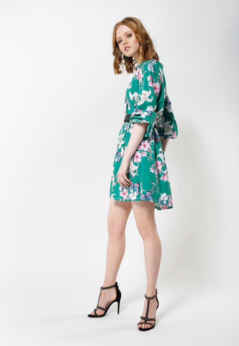 Zielona Sukienka Lilies Flames