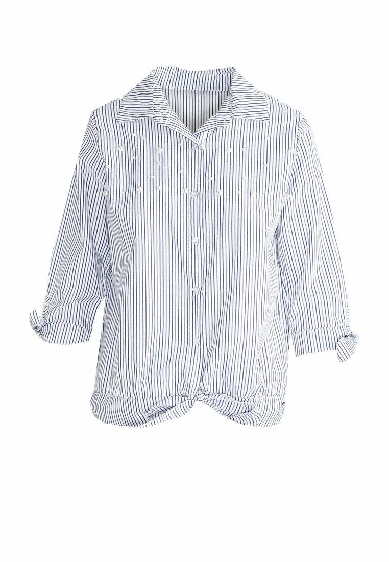 Granatowa Koszula Stripy Pearled