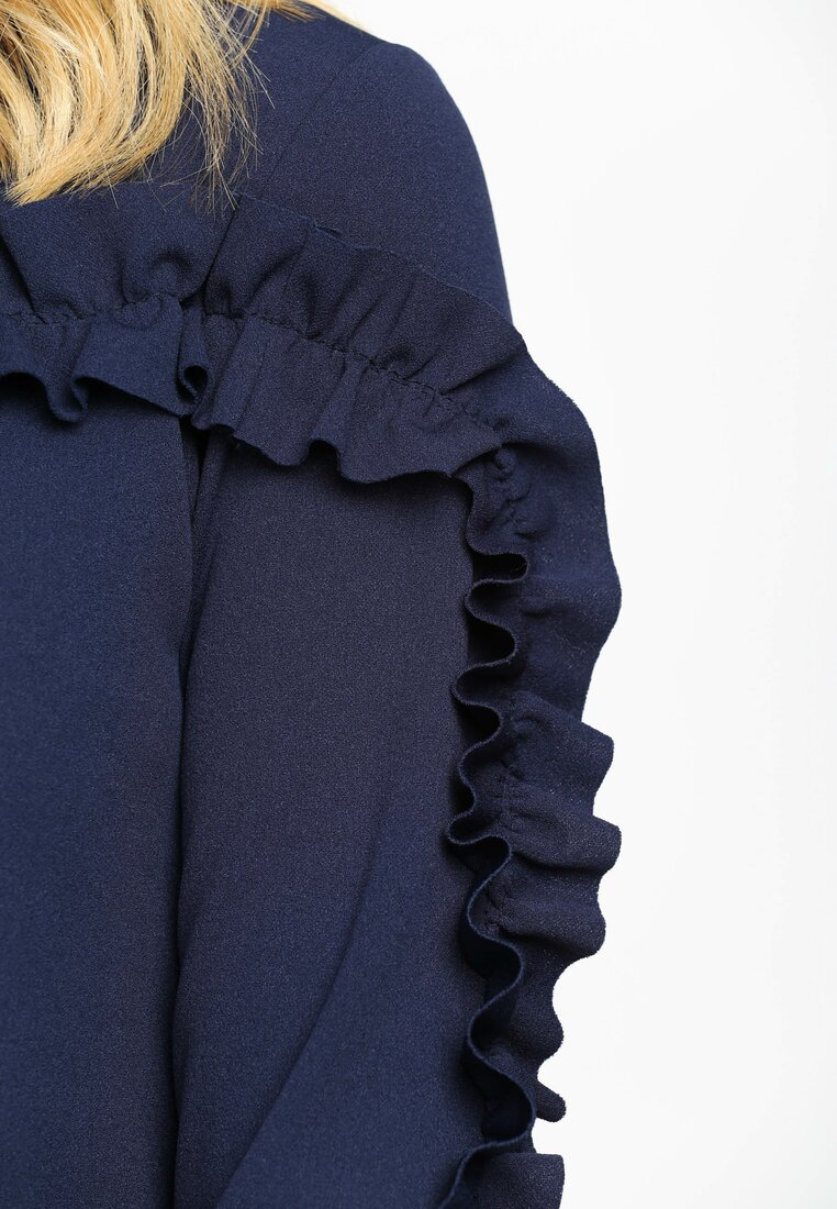 Granatowa Sukienka Ruffle Sleeves