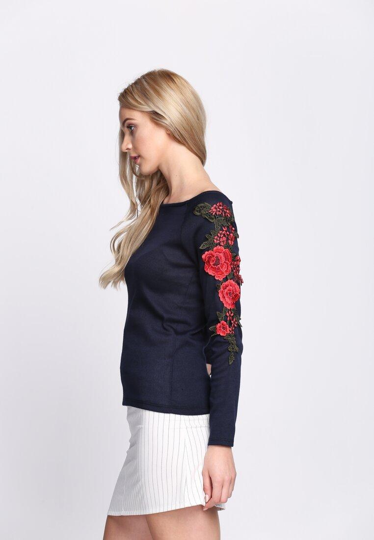 Granatowa Bluzka Flowery Sleeves