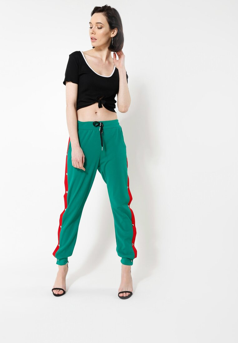 Zielone Spodnie Dresowe Long Way