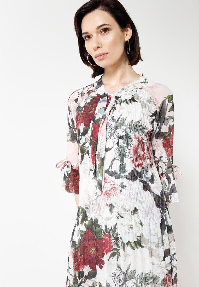 Biało-Bordowa Sukienka Flower Deluxe