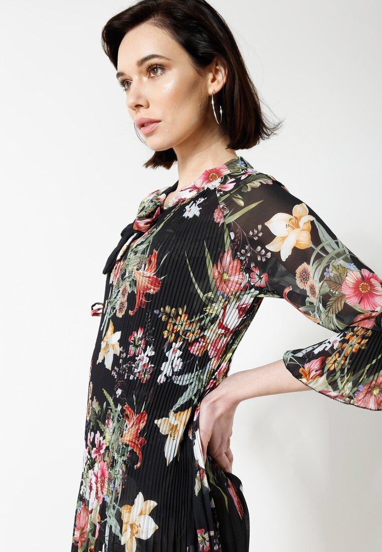 Czarno-Różowa Sukienka Flower Deluxe