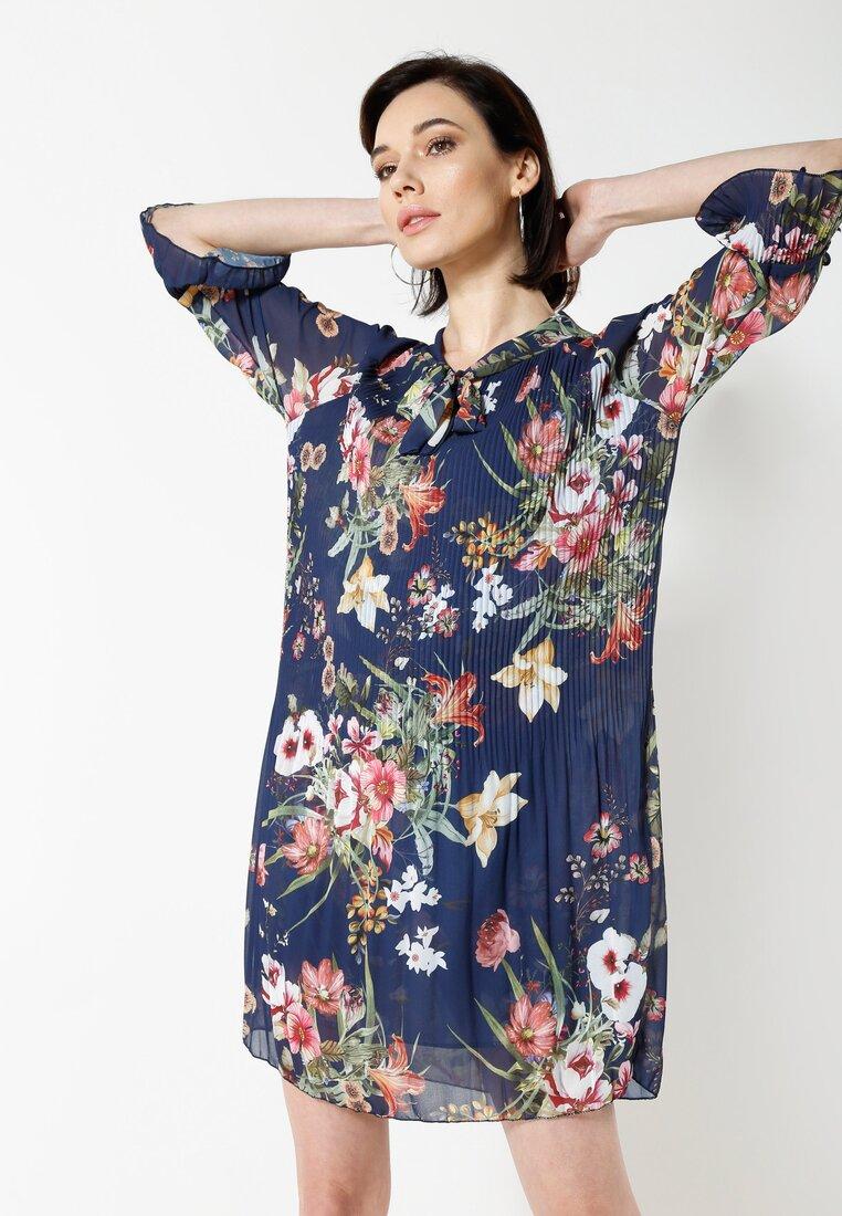 Granatowo-Różowa Sukienka Flower Deluxe