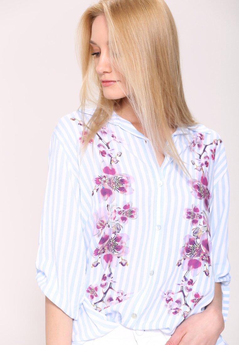 Niebieska Koszula Flowers On Stripes