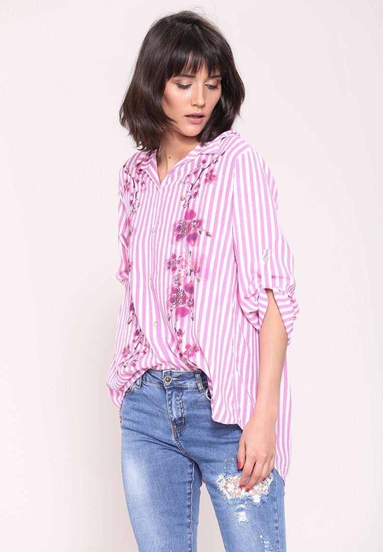 Fuksjowa Koszula Flowers On Stripes