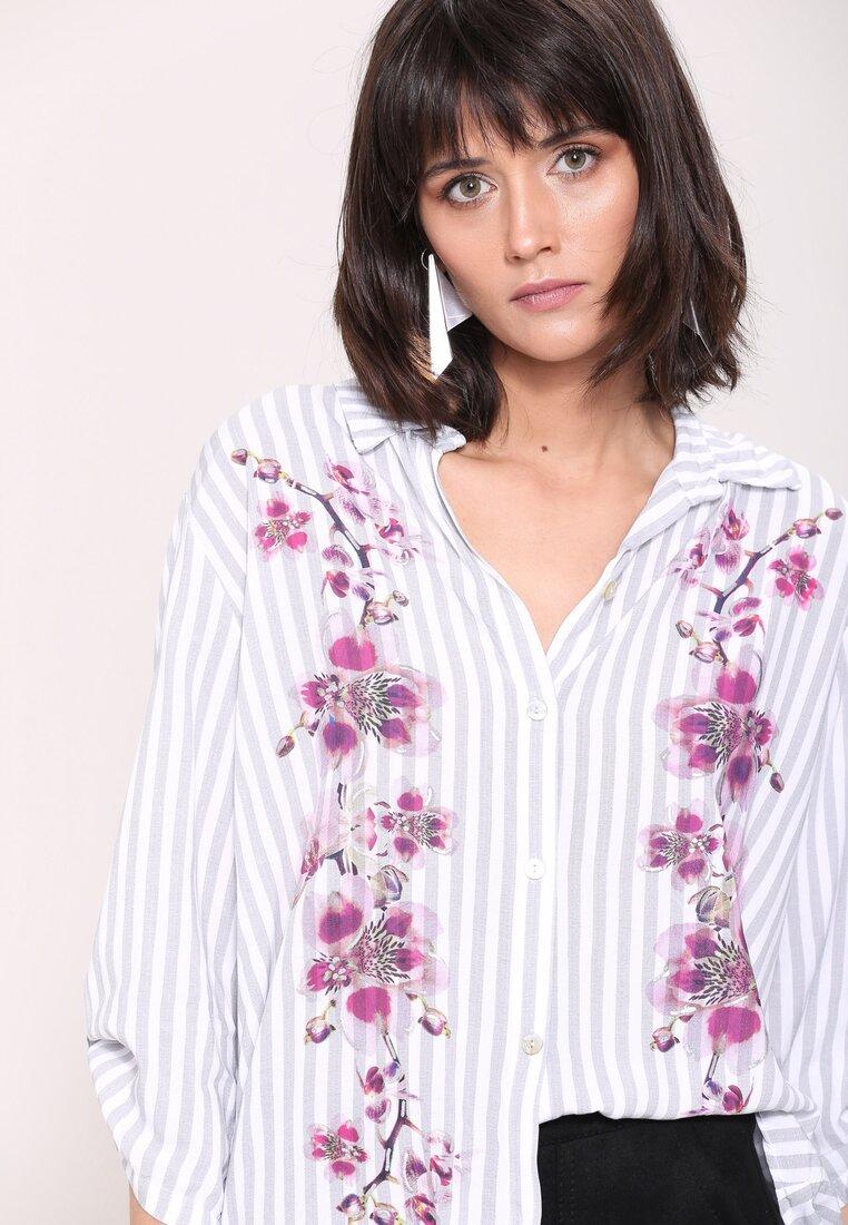 Szara Koszula Flowers On Stripes
